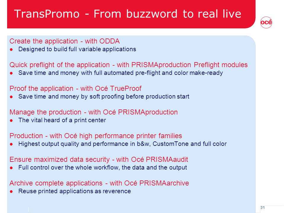 31 TransPromo - From buzzword to real live Create the application - with ODDA l Designed to build full variable applications Quick preflight of the ap