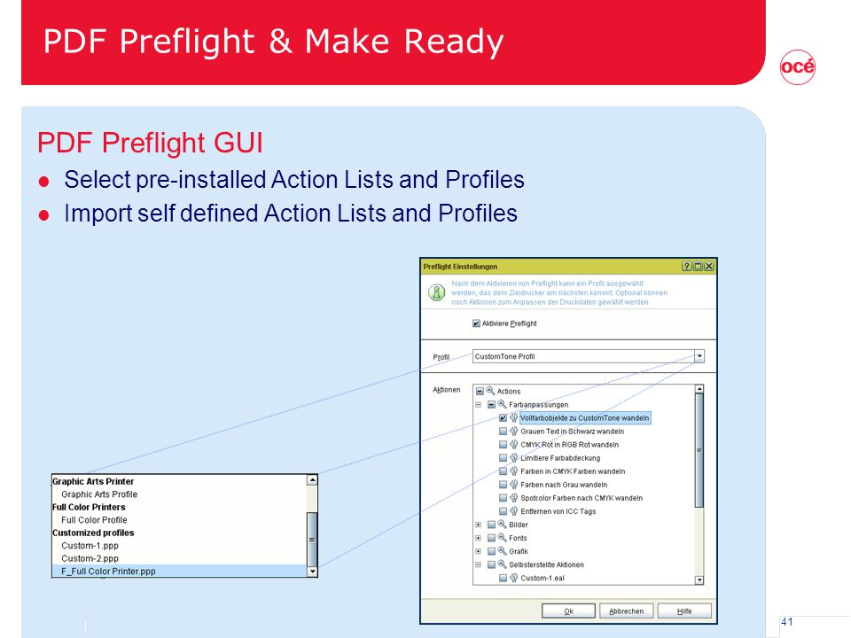 41 PDF Preflight & Make Ready PDF Preflight GUI l Select pre-installed Action Lists and Profiles l Import self defined Action Lists and Profiles