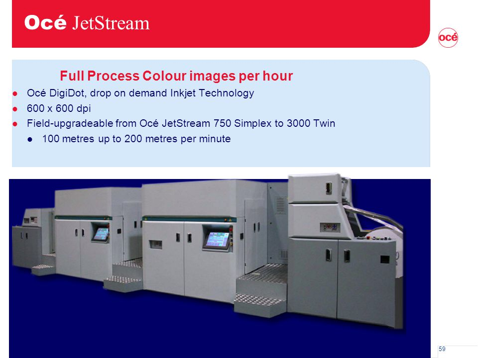 59 Océ JetStream Full Process Colour images per hour l Océ DigiDot, drop on demand Inkjet Technology l 600 x 600 dpi l Field-upgradeable from Océ JetS