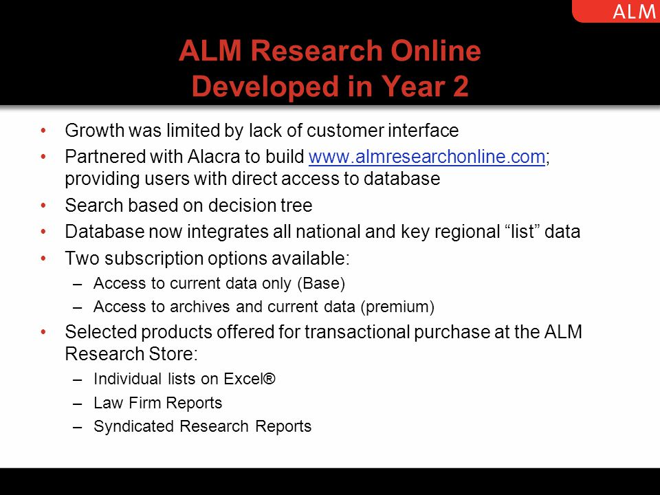 ALM Research Online Developed in Year 2 Growth was limited by lack of customer interface Partnered with Alacra to build www.almresearchonline.com; providing users with direct access to databasewww.almresearchonline.com Search based on decision tree Database now integrates all national and key regional list data Two subscription options available: –Access to current data only (Base) –Access to archives and current data (premium) Selected products offered for transactional purchase at the ALM Research Store: –Individual lists on Excel® –Law Firm Reports –Syndicated Research Reports