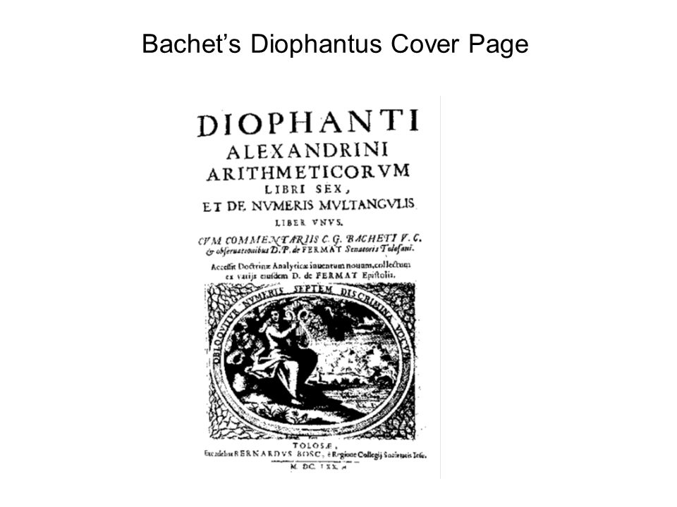 Bachet's Diophantus Cover Page