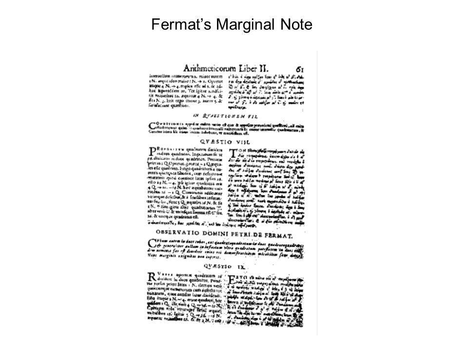 Fermat's Marginal Note