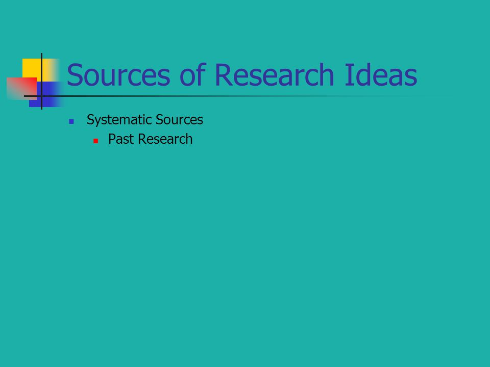 Sources of Research Ideas Systematic Sources Past Research
