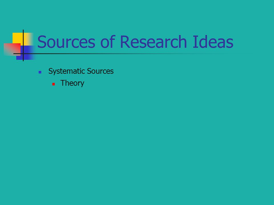 Sources of Research Ideas Systematic Sources Theory