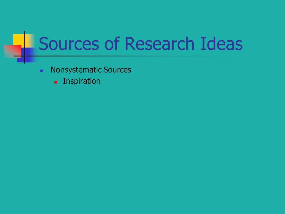Sources of Research Ideas Nonsystematic Sources Inspiration
