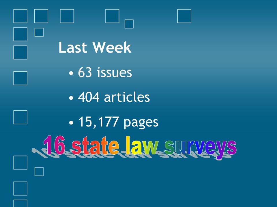 Law Reviews 700+ US law school, association & commercially published periodicals Most indexed in the Current Index to Legal Periodicals [link]link