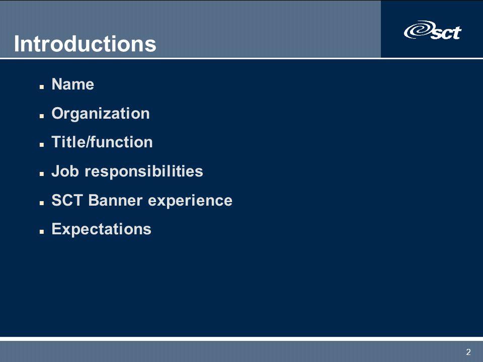 2 Introductions n Name n Organization n Title/function n Job responsibilities n SCT Banner experience n Expectations