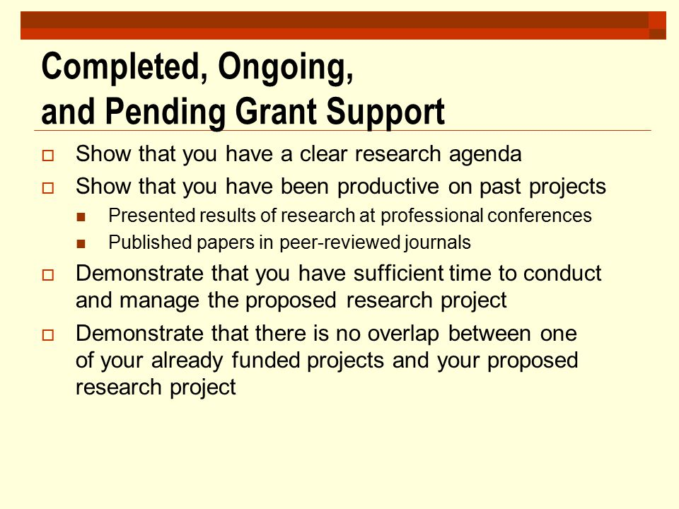 Completed, Ongoing, and Pending Grant Support  Show that you have a clear research agenda  Show that you have been productive on past projects Prese