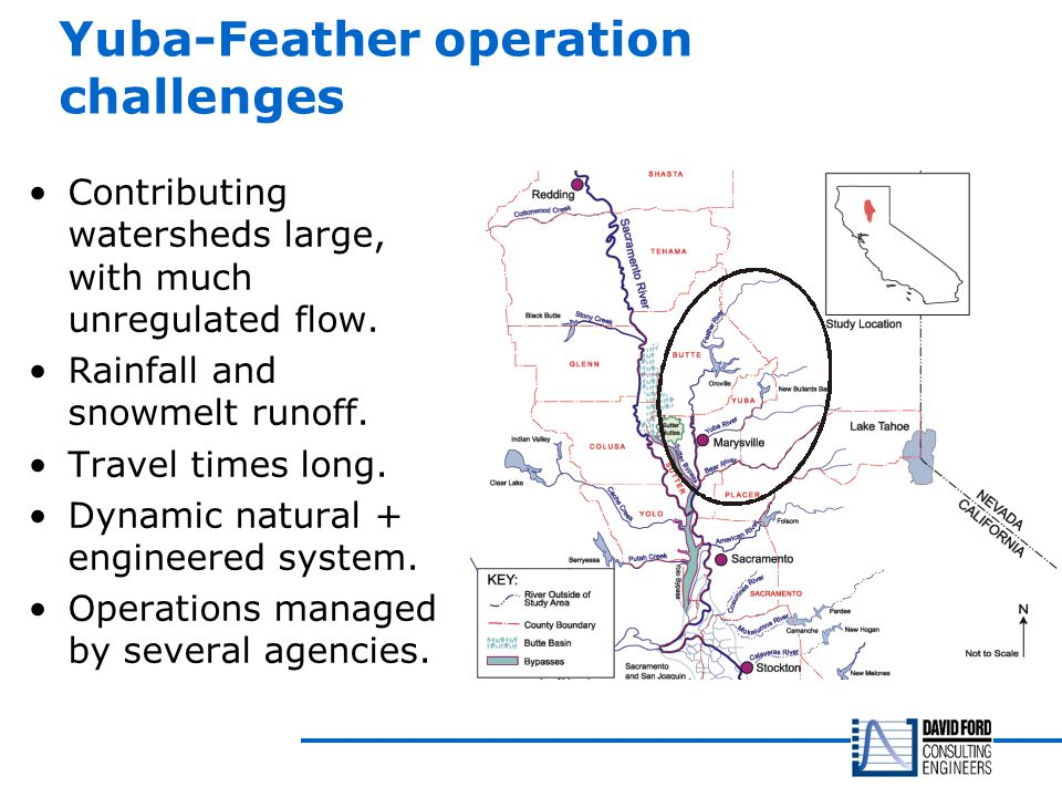 Yuba-Feather operation challenges Contributing watersheds large, with much unregulated flow.
