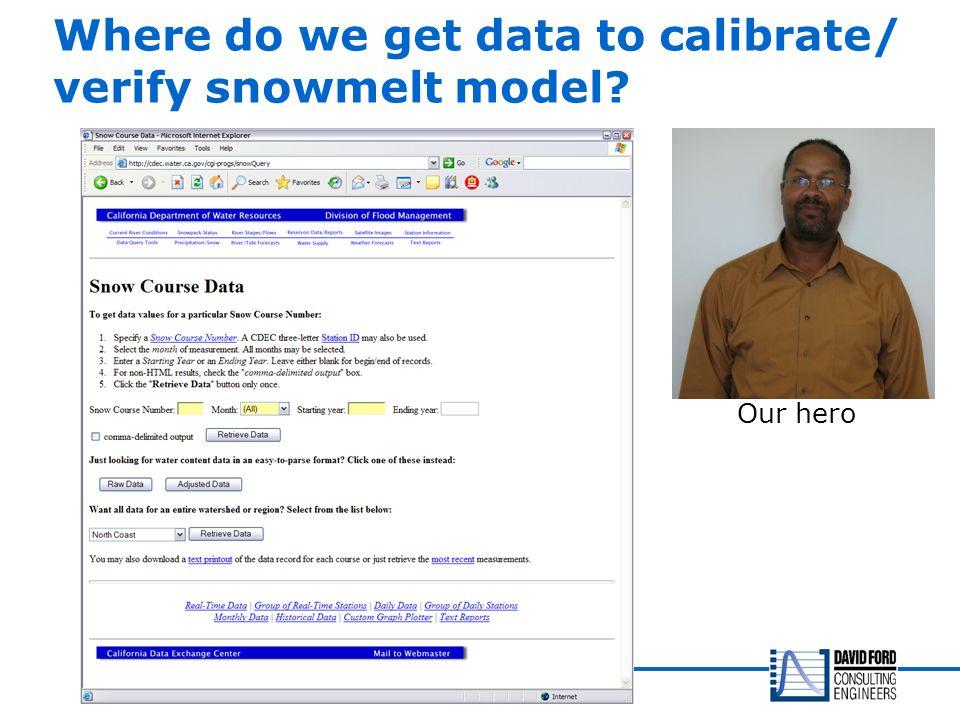 Where do we get data to calibrate/ verify snowmelt model? Our hero