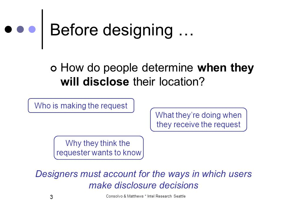 Consolvo & Matthews * Intel Research Seattle 4 Before designing … What would people disclose.