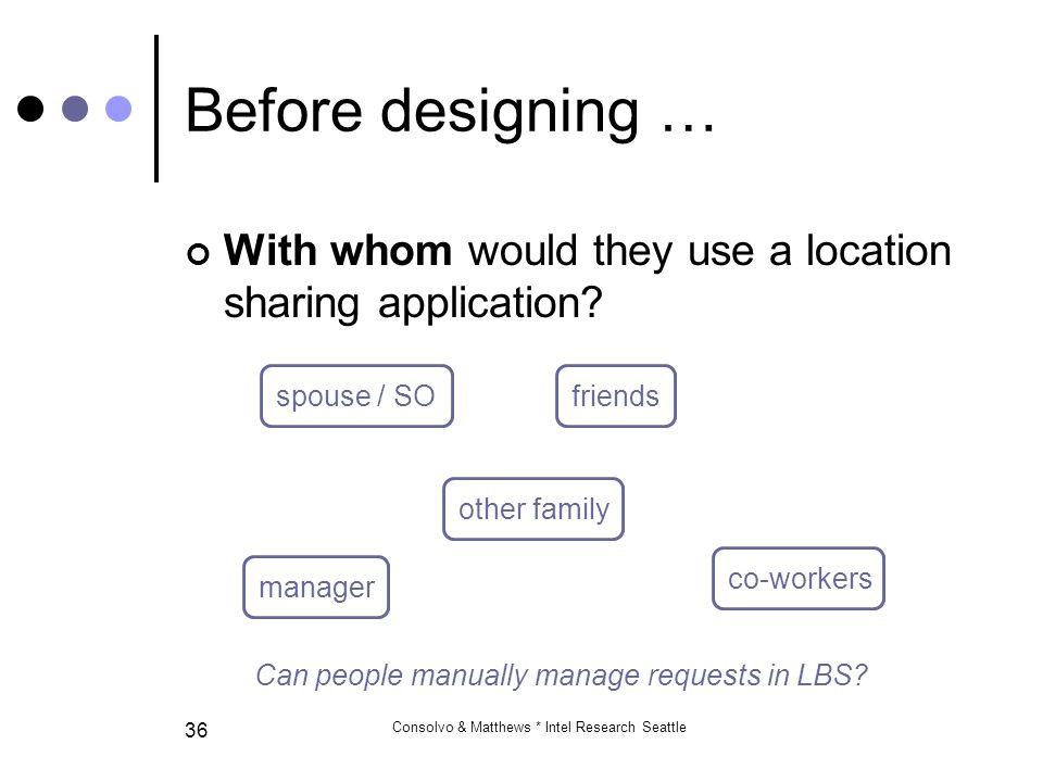 Consolvo & Matthews * Intel Research Seattle 36 With whom would they use a location sharing application.