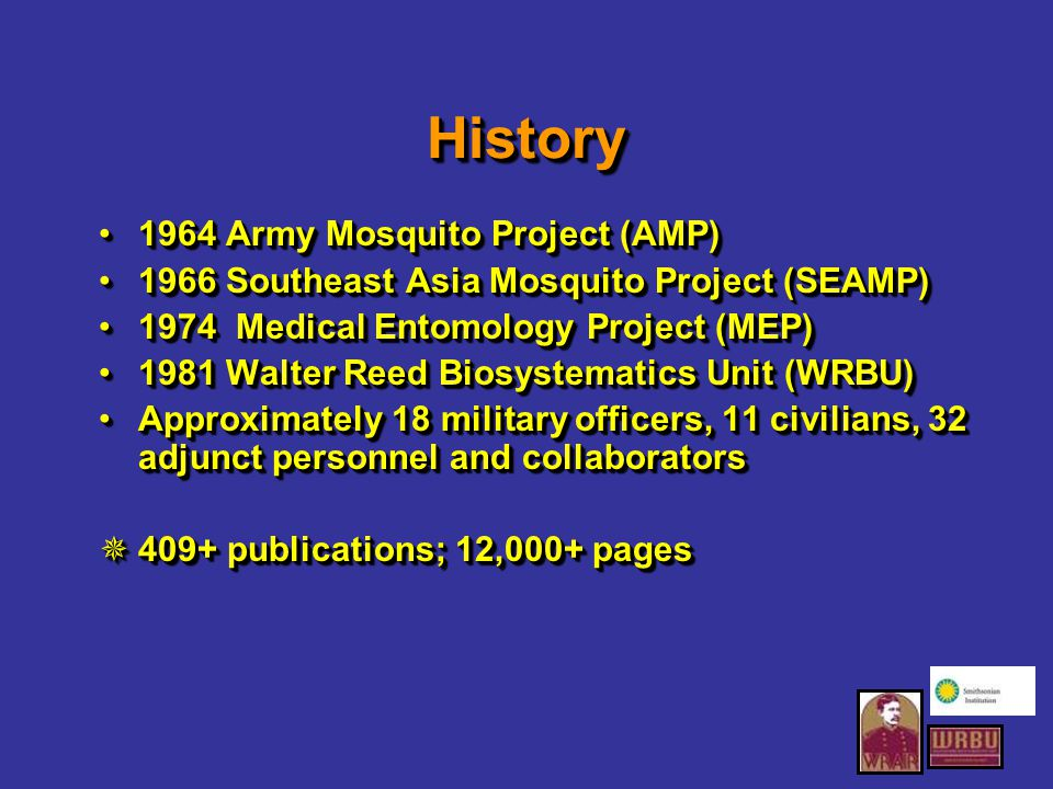 Collaboration with Smithsonian Facilities, services, collection infrastructure support, etc…Facilities, services, collection infrastructure support, etc… Use of sequencing resources of Laboratory of Analytical Biology (LAB)Use of sequencing resources of Laboratory of Analytical Biology (LAB) Emu (Electronic Museum) capture of Mosquitoes of Middle America collection recordsEmu (Electronic Museum) capture of Mosquitoes of Middle America collection records Grants for scanning literature and alcohol collection maintenanceGrants for scanning literature and alcohol collection maintenance Facilities, services, collection infrastructure support, etc…Facilities, services, collection infrastructure support, etc… Use of sequencing resources of Laboratory of Analytical Biology (LAB)Use of sequencing resources of Laboratory of Analytical Biology (LAB) Emu (Electronic Museum) capture of Mosquitoes of Middle America collection recordsEmu (Electronic Museum) capture of Mosquitoes of Middle America collection records Grants for scanning literature and alcohol collection maintenanceGrants for scanning literature and alcohol collection maintenance