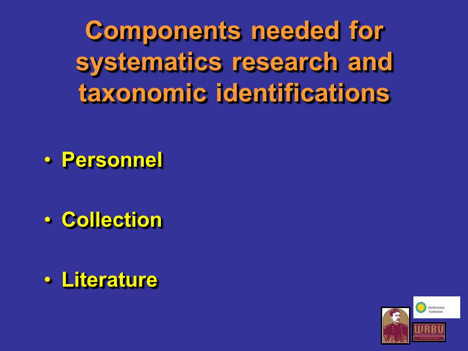 Components needed for systematics research and taxonomic identifications PersonnelPersonnel CollectionCollection LiteratureLiterature PersonnelPersonnel CollectionCollection LiteratureLiterature
