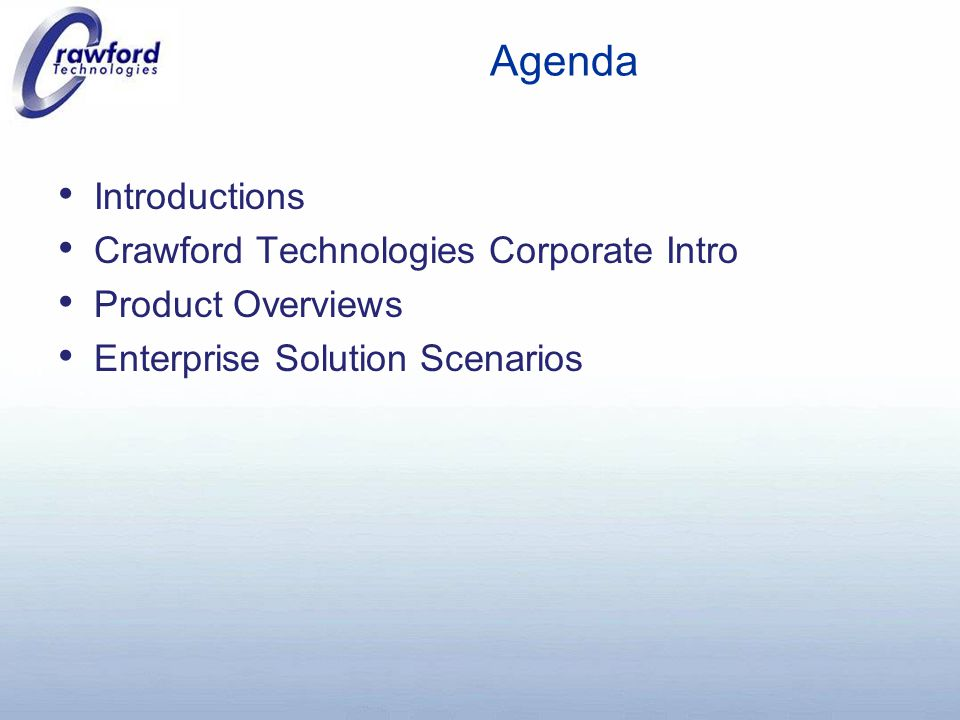 CrawfordTech Overview Founded in 1995 and based in Toronto, CrawfordTech is a privately held global software company Core competency is in transaction print stream and document production software, including: o Alternate Format services o Automated Document Factory solutions o Document manipulation & re-engineering applications o Print stream conversions/transform applications o Transaction document archiving & retrieval solutions o Integration/WorkFlow solutions