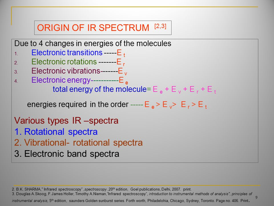 Due to 4 changes in energies of the molecules 1. Electronic transitions -----E t 2.