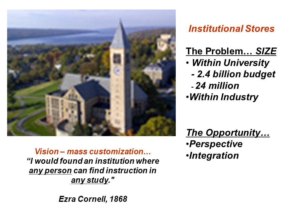 Vision – mass customization… I would found an institution where any person can find instruction in any study. Ezra Cornell, 1868 Institutional Stores The Problem… SIZE Within University - 2.4 billion budget - 24 million Within Industry The Opportunity… Perspective Integration