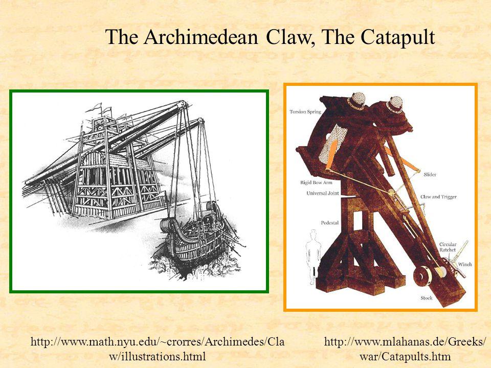 http://www.math.nyu.edu/~crorres/Archimedes/Cla w/illustrations.html http://www.mlahanas.de/Greeks/ war/Catapults.htm The Archimedean Claw, The Catapu