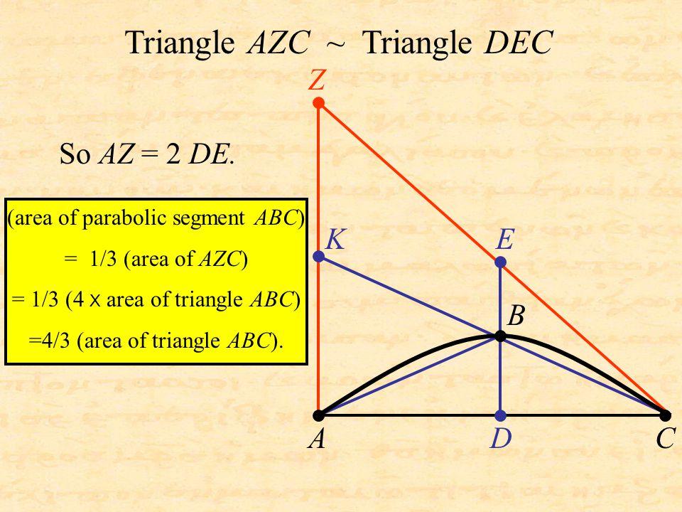 KE D Z A B C Triangle AZC ~ Triangle DEC So AZ = 2 DE. (area of parabolic segment ABC) = 1/3 (area of AZC) = 1/3 (4 X area of triangle ABC) =4/3 (area