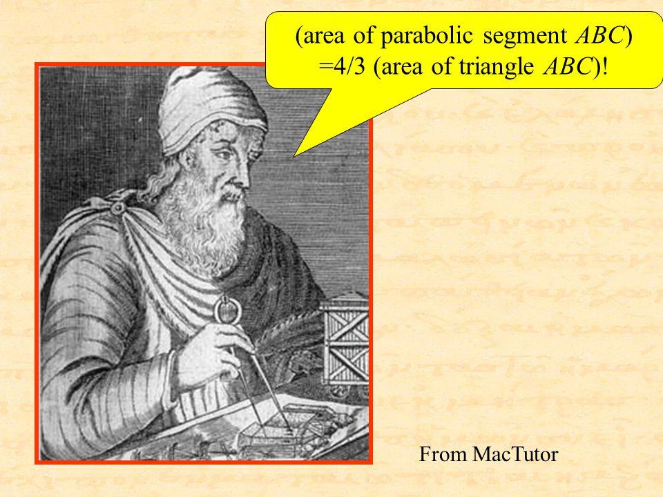 From MacTutor (area of parabolic segment ABC) =4/3 (area of triangle ABC)!