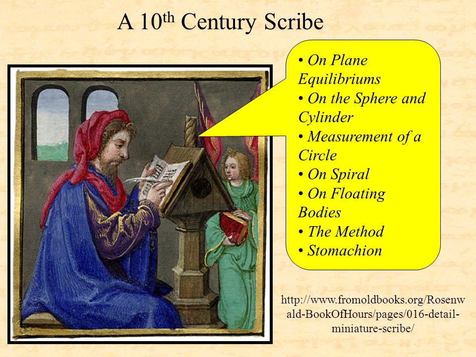 http://www.fromoldbooks.org/Rosenw ald-BookOfHours/pages/016-detail- miniature-scribe/ On Plane Equilibriums On the Sphere and Cylinder Measurement of