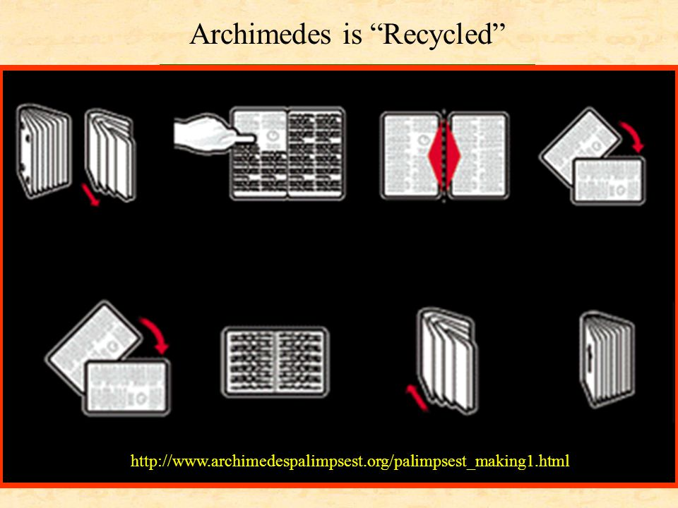 """http://storms.typepad.com/booklust/2004/10/if_ you_havent_n.html http://www.archimedespalimpsest.org/palimpsest_making1.html Archimedes is """"Recycled"""""""