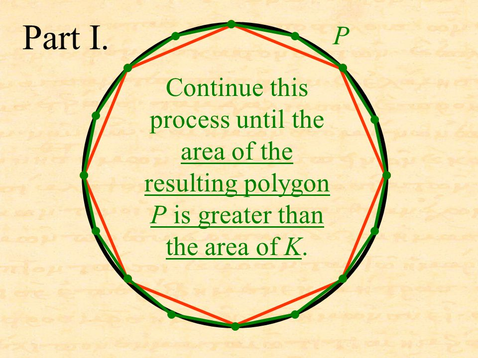 Part I. Continue this process until the area of the resulting polygon P is greater than the area of K. P