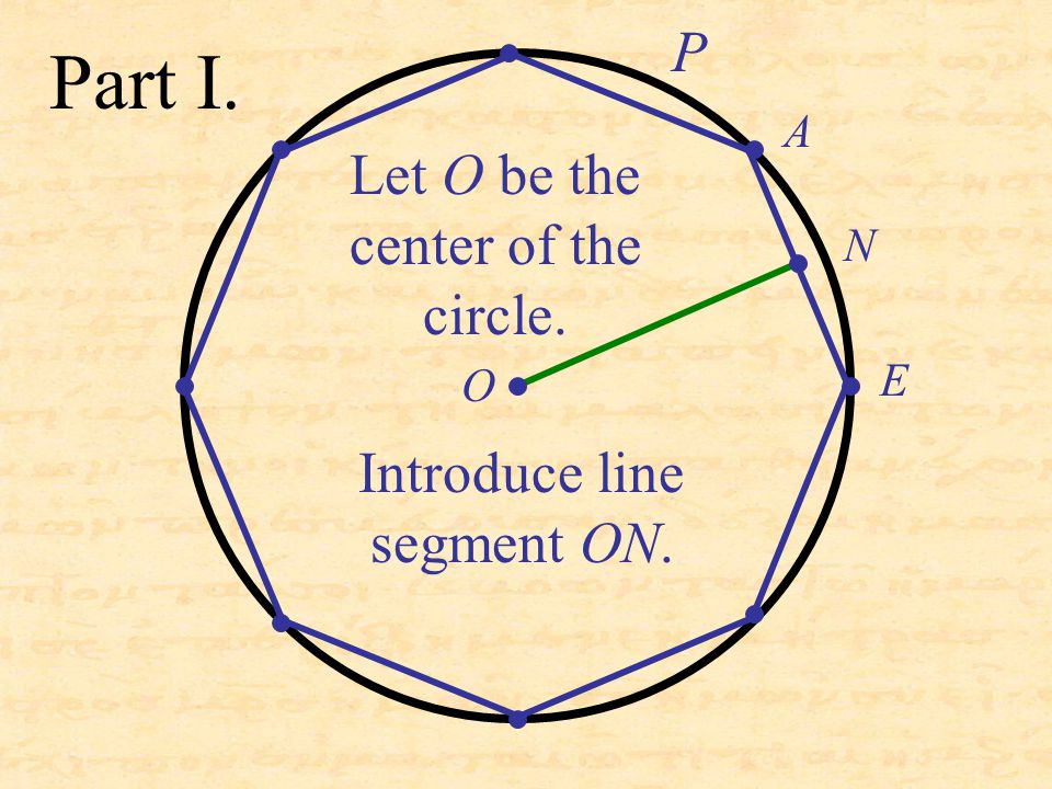 Part I. A E Let O be the center of the circle. Introduce line segment ON. N O P
