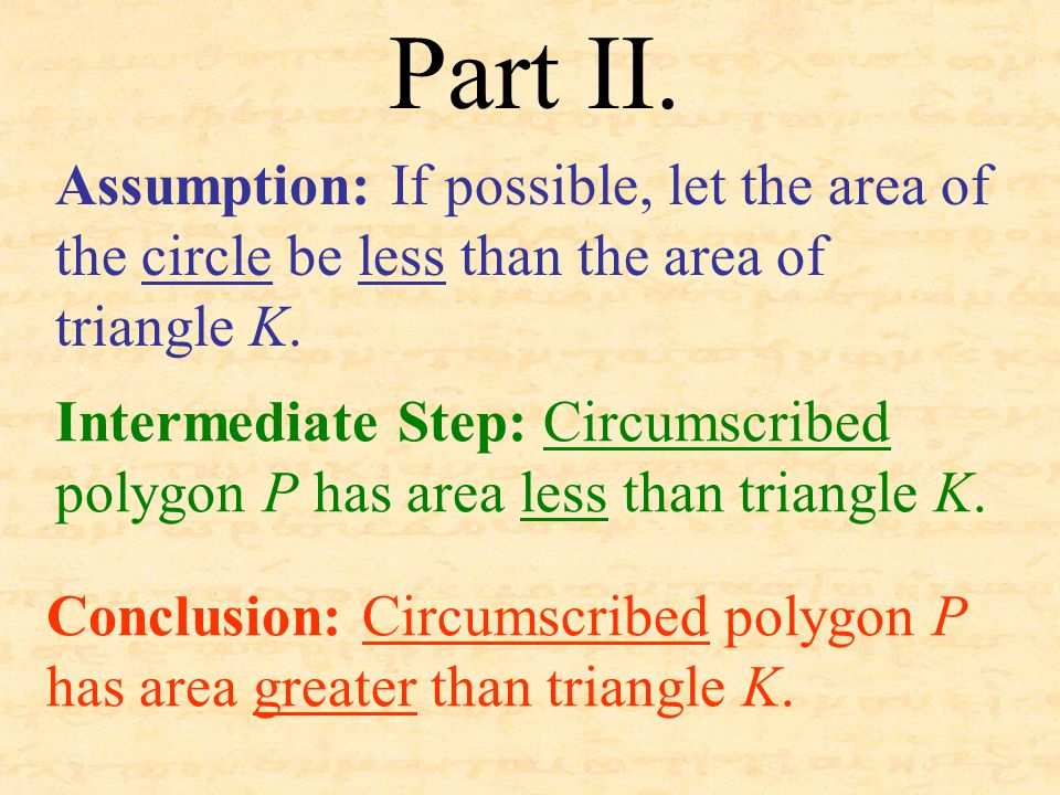 Part II. Assumption: If possible, let the area of the circle be less than the area of triangle K. Conclusion: Circumscribed polygon P has area greater