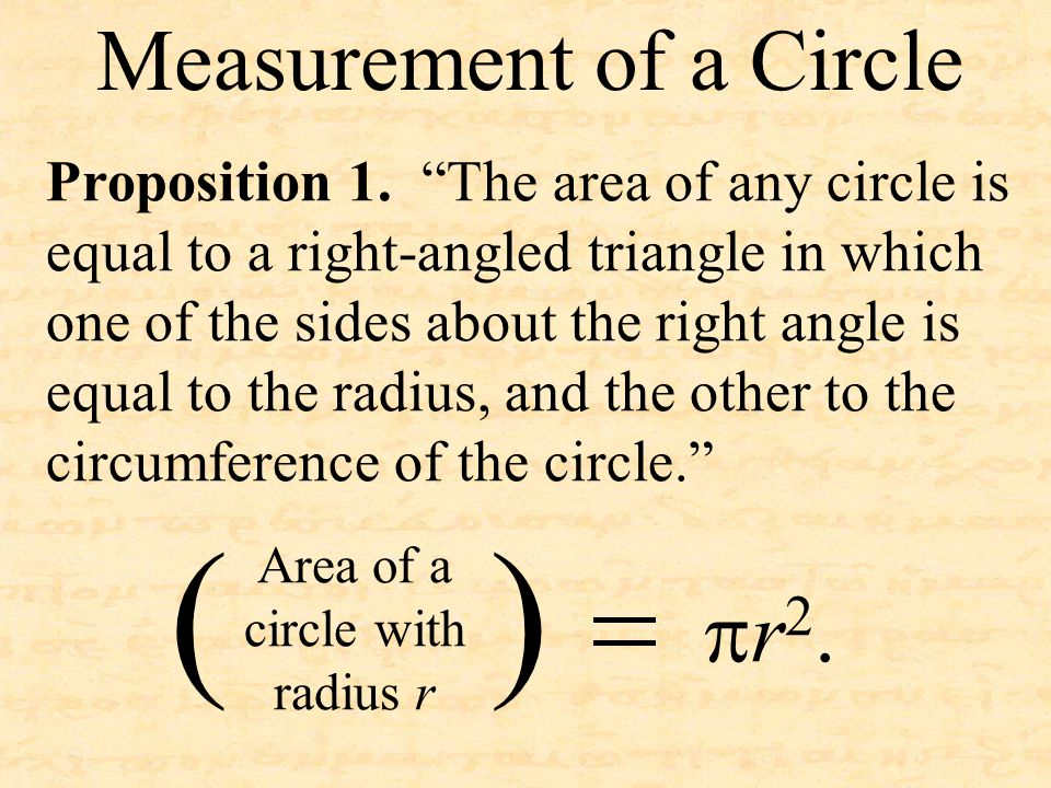 """Proposition 1. """"The area of any circle is equal to a right-angled triangle in which one of the sides about the right angle is equal to the radius, and"""