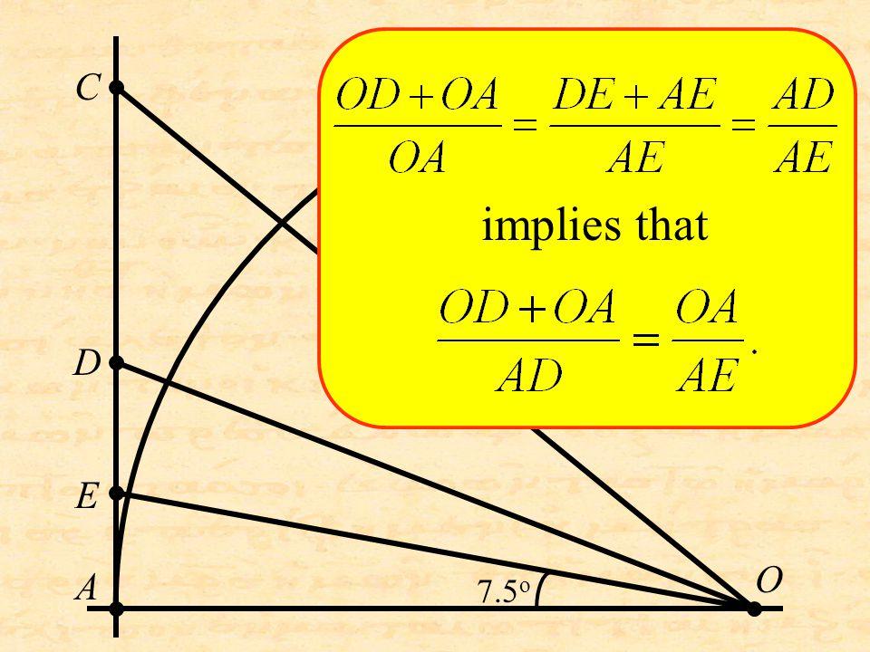 O C D A E implies that 7.5 o