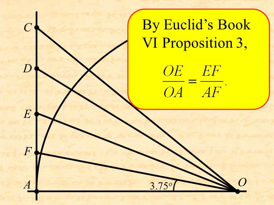 O C D A E F By Euclid's Book VI Proposition 3, 3.75 o