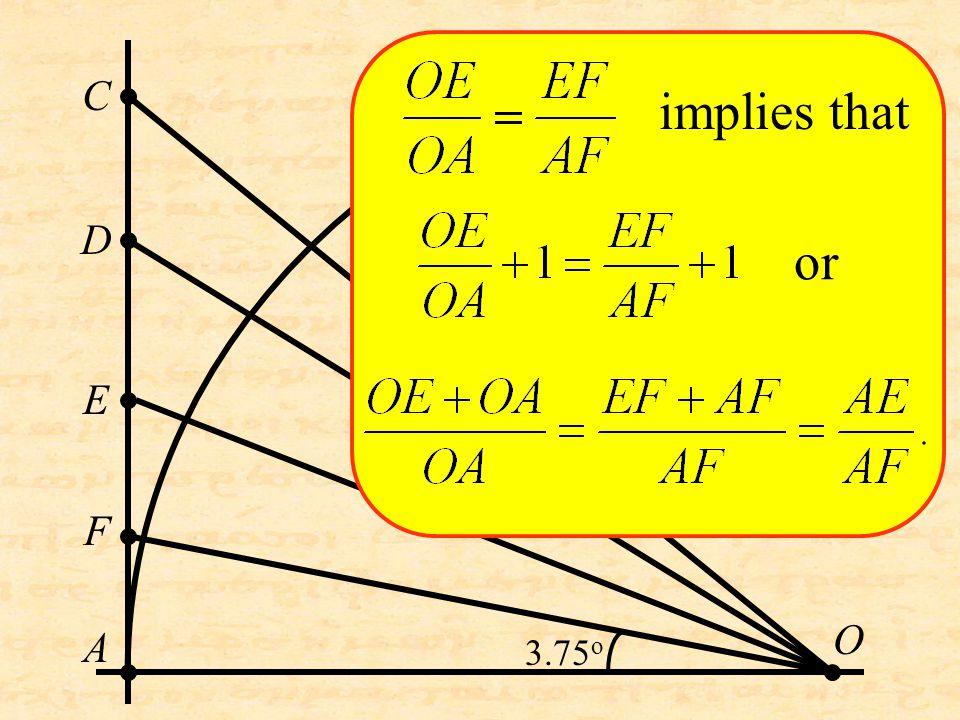 O C D A E F implies that or 3.75 o