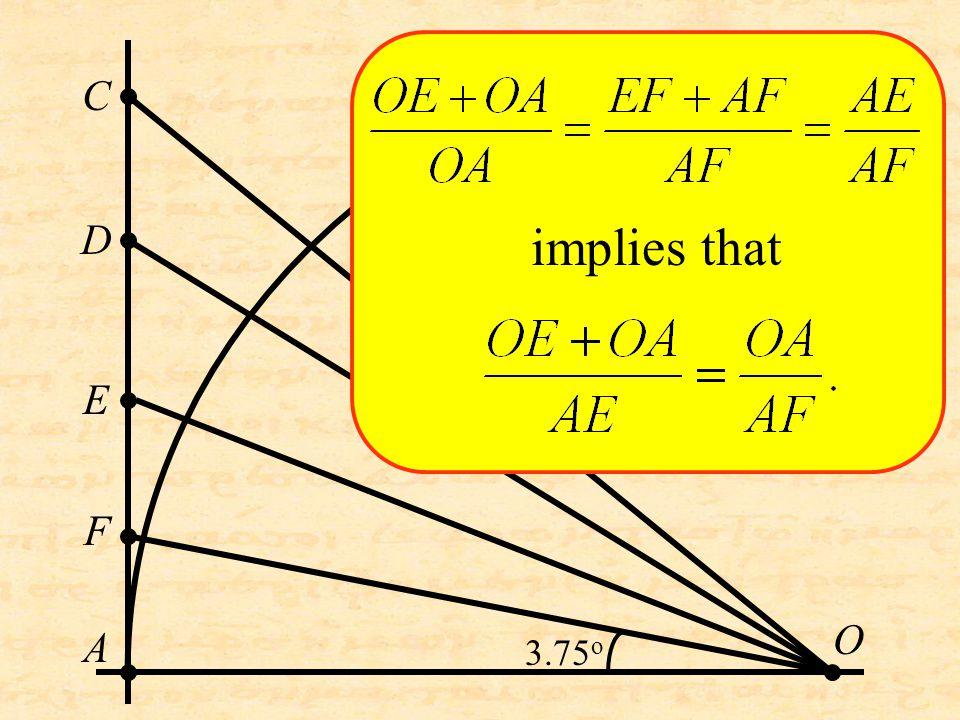 O C D A E F implies that 3.75 o