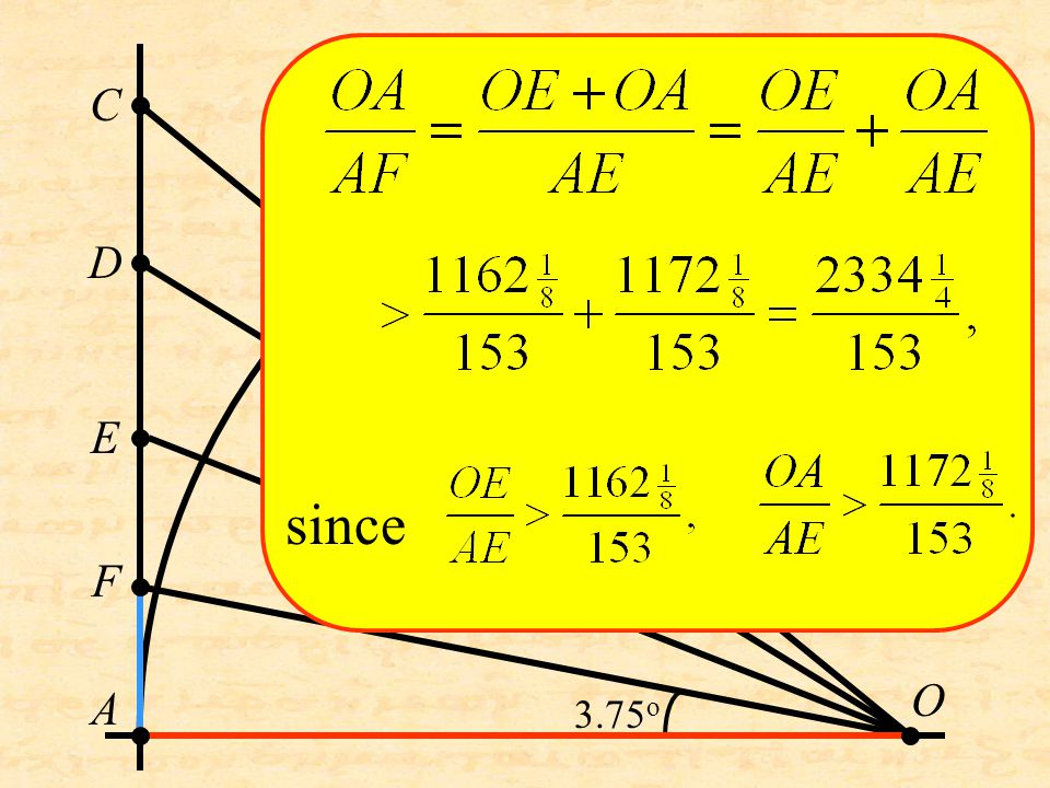 A O C D E F since 3.75 o
