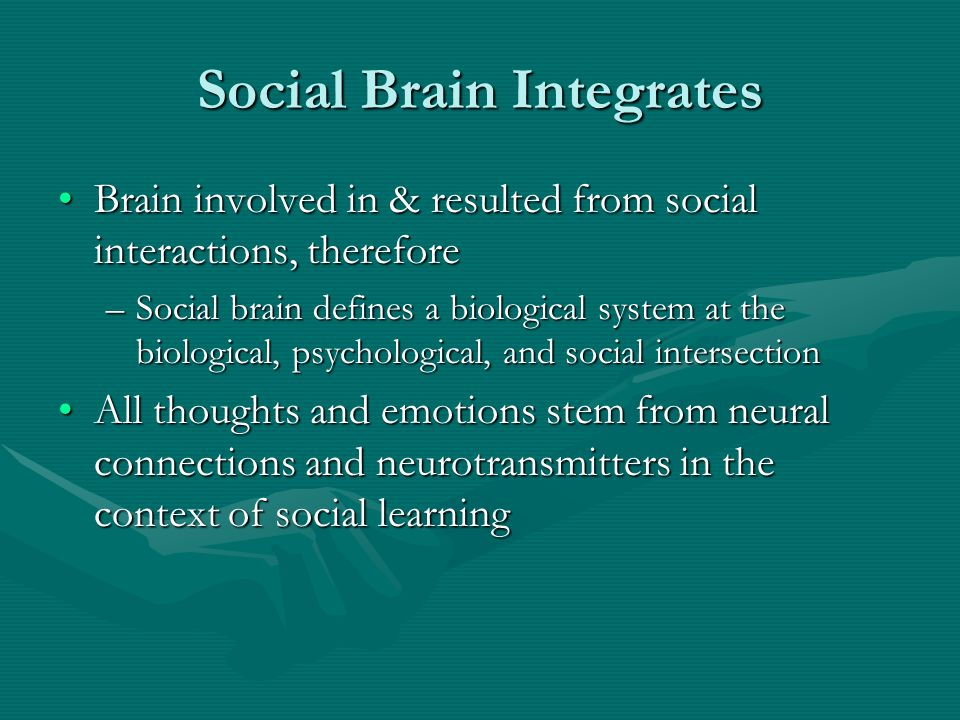 Social Brain Integrates Brain involved in & resulted from social interactions, thereforeBrain involved in & resulted from social interactions, therefo