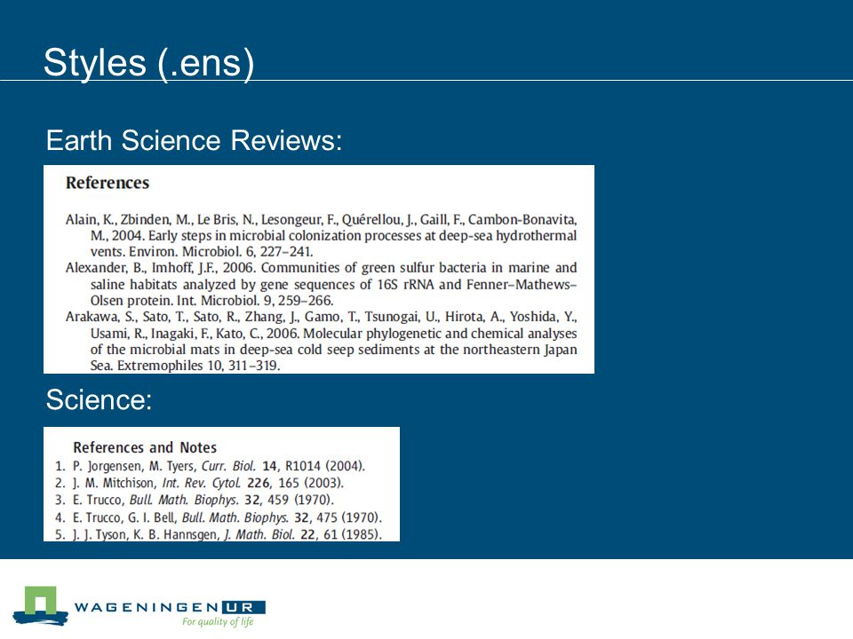 Styles (.ens) Earth Science Reviews: Science: