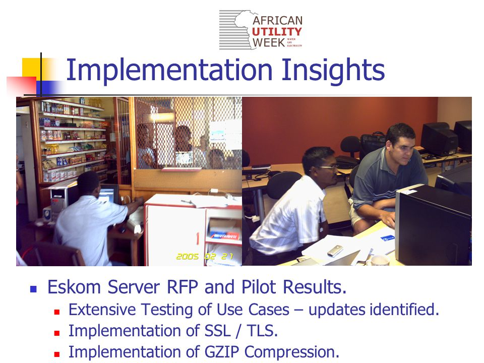 Implementation Insights Eskom Server RFP and Pilot Results.