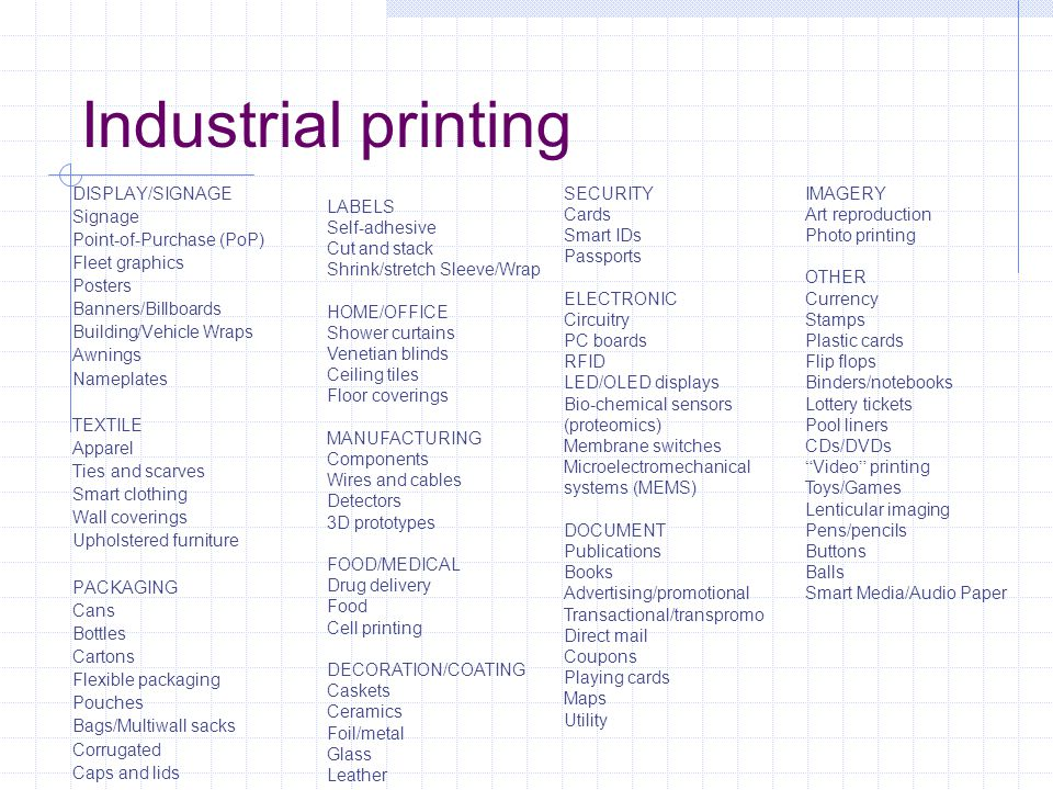 Industrial printing DISPLAY/SIGNAGE Signage Point-of-Purchase (PoP) Fleet graphics Posters Banners/Billboards Building/Vehicle Wraps Awnings Nameplates TEXTILE Apparel Ties and scarves Smart clothing Wall coverings Upholstered furniture PACKAGING Cans Bottles Cartons Flexible packaging Pouches Bags/Multiwall sacks Corrugated Caps and lids LABELS Self-adhesive Cut and stack Shrink/stretch Sleeve/Wrap HOME/OFFICE Shower curtains Venetian blinds Ceiling tiles Floor coverings MANUFACTURING Components Wires and cables Detectors 3D prototypes FOOD/MEDICAL Drug delivery Food Cell printing DECORATION/COATING Caskets Ceramics Foil/metal Glass Leather SECURITY Cards Smart IDs Passports ELECTRONIC Circuitry PC boards RFID LED/OLED displays Bio-chemical sensors (proteomics) Membrane switches Microelectromechanical systems (MEMS) DOCUMENT Publications Books Advertising/promotional Transactional/transpromo Direct mail Coupons Playing cards Maps Utility IMAGERY Art reproduction Photo printing OTHER Currency Stamps Plastic cards Flip flops Binders/notebooks Lottery tickets Pool liners CDs/DVDs Video printing Toys/Games Lenticular imaging Pens/pencils Buttons Balls Smart Media/Audio Paper