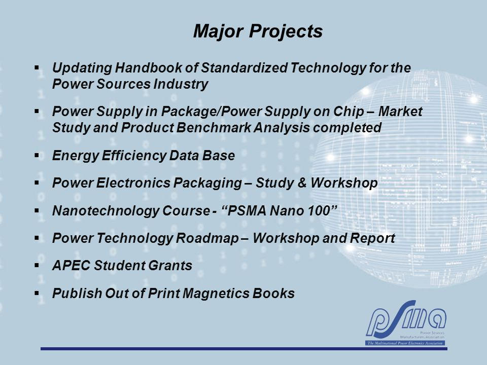 Major Projects  Updating Handbook of Standardized Technology for the Power Sources Industry  Power Supply in Package/Power Supply on Chip – Market S