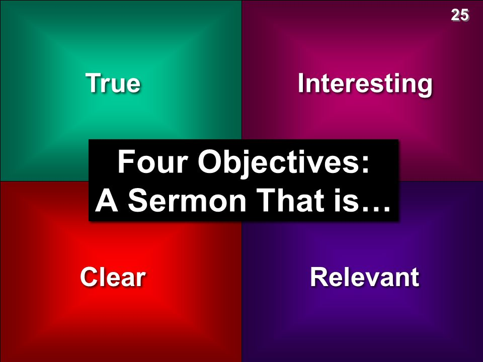 True Clear Interesting Relevant Four Objectives: A Sermon That is… 25
