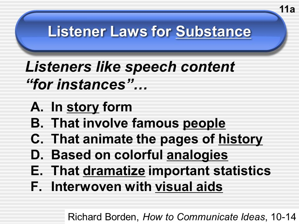 """Listener Laws for Substance Listeners like speech content """"for instances""""… A.In story form B.That involve famous people C.That animate the pages of hi"""