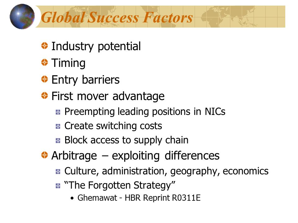 Global Success Factors Industry potential Timing Entry barriers First mover advantage Preempting leading positions in NICs Create switching costs Bloc