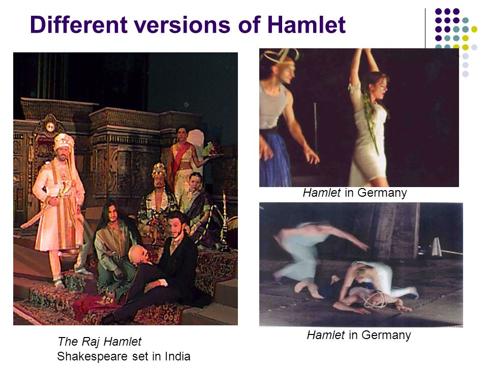 Kenneth Branagh as Hamlet Different versions of Hamlet The Raj Hamlet Shakespeare set in India Hamlet in Germany