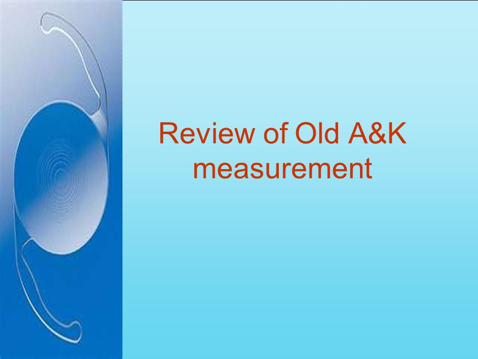 Review of Old A&K measurement
