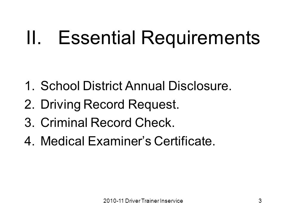 II.Essential Requirements 1.School District Annual Disclosure.