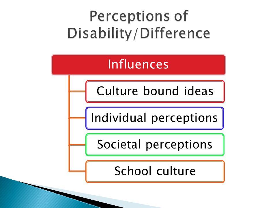Influences Culture bound ideasIndividual perceptionsSocietal perceptionsSchool culture