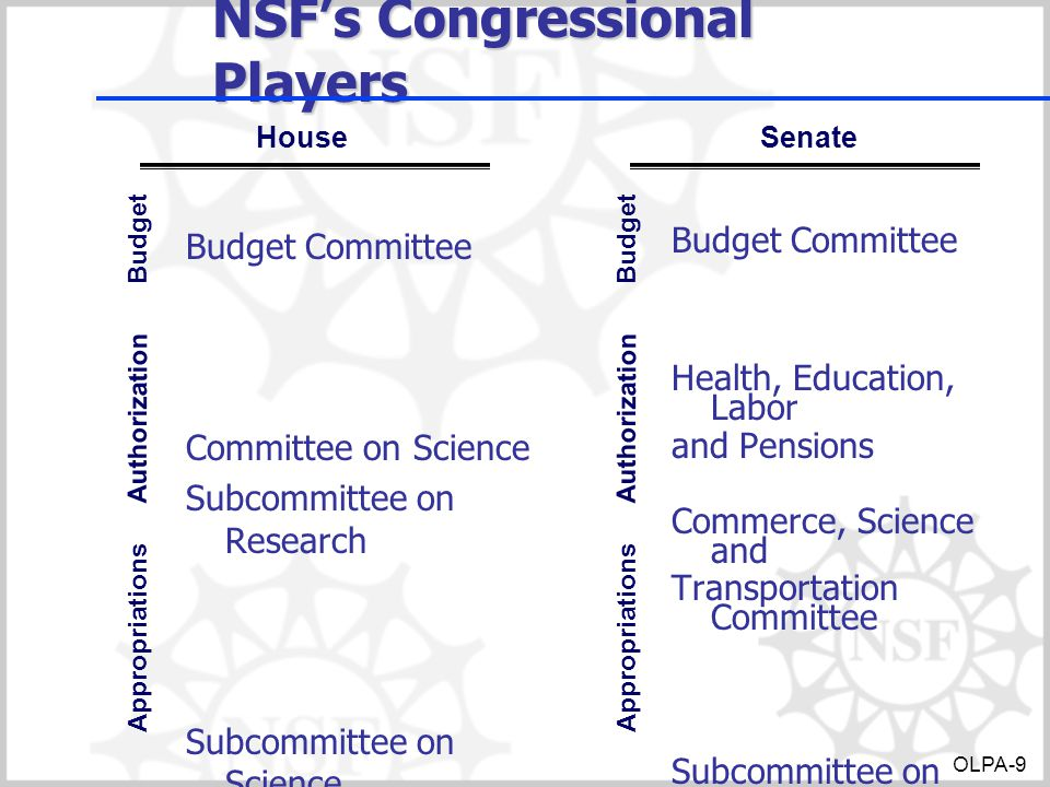 NSF's Congressional Players Budget Committee Committee on Science Subcommittee on Research Subcommittee on Science, Justice, and Commerce and Related