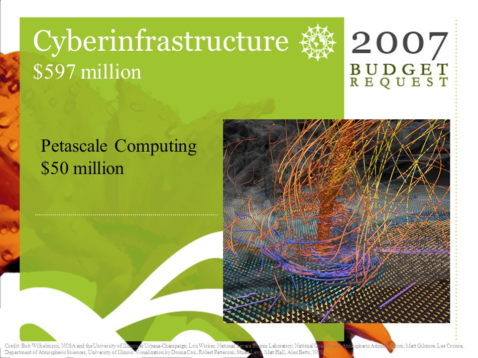 Cyberinfrastructure Cyberinfrastructure $597 million Petascale Computing $50 million Credit: NCSA, the University of Illinois at Urbana-Champaign, and