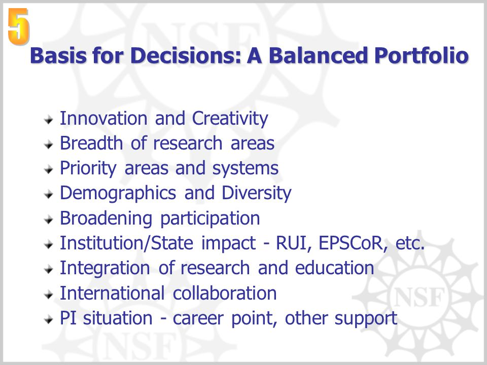 Basis for Decisions: A Balanced Portfolio Innovation and Creativity Breadth of research areas Priority areas and systems Demographics and Diversity Br